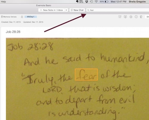 How to Memorize Bible Verses using Evernote--using the search function.