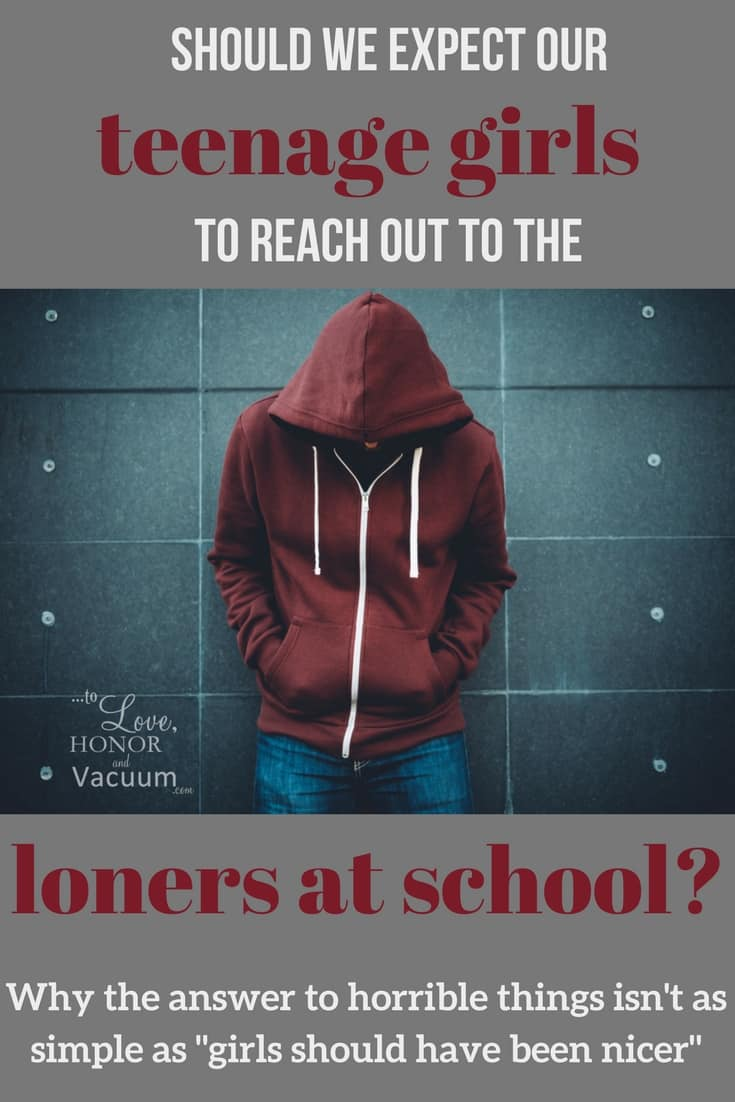 "Teenagers face a lot of problems at school, but what is fair to put on our girls? When someone who is angry because of rejection from his female classmates does something horrible, is the answer really that ""she should have talked to him?"""