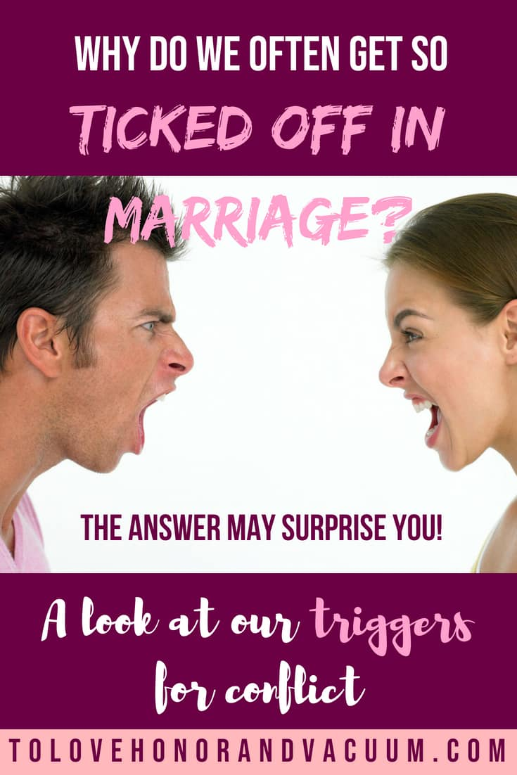 Sometimes it's hard to figure out why we're angry with our spouse! Read here for tips in resolving conflict and understanding where it all started from!
